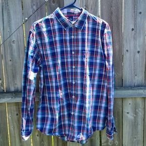 Lightweight Plaid Shirt in Red, White & Blue